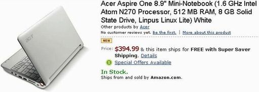 Предзаказ Acer Aspire One Mini-Notebook на Amazon