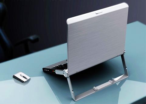 Красивый концепт ноутбука с ручкой-подставкой