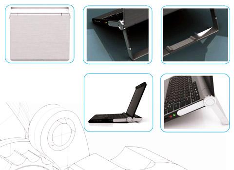 ноутбук концепт с ручкой-подставкой
