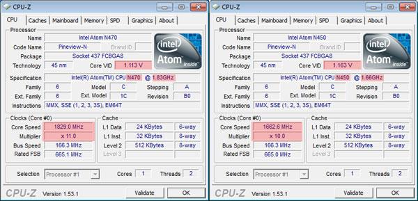Сравнение производительности процессоров Atom N450 и Atom N470