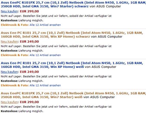 ASUS Eee PC R101 и R101PX – новые названия со старой начинкой