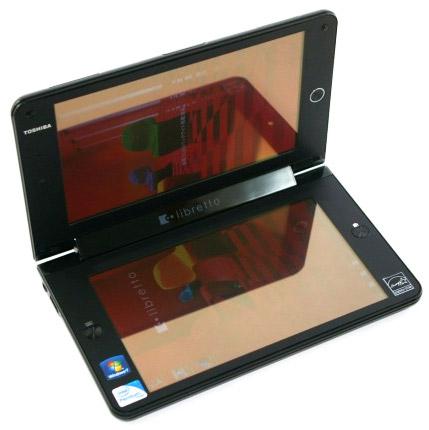 Toshiba Libretto W100 с двумя экранами на видео